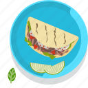food, gastronomy, meal, mexico, plate, restaurant, tacos icon