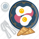 breakfast, eggs, food, gastronomy, meal, plate, restaurant icon