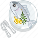 cooking, fish, food, meal, restaurant, seafood, serving icon