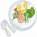 cooking, fish, food, meal, restaurant, salmon, serving icon