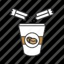 coffee, coffee beans, drink, paper glass, sugar, sugar sachet, sugar stick