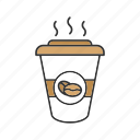 coffee, coffee beans, coffee to go, cup, drink, hot, paper glass icon