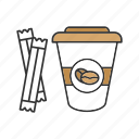 coffee, coffee to go, cup, drink, paper glass, sugar sachets, sugar sticks