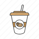 coffee, coffee to go, cup, drink, paper glass, shake, straw icon