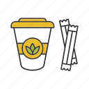 drink, green, paper glass, sugar sachets, sugar sticks, tea, tea to go