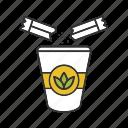 cup, drink, green, paper glass, sugar sachet, sugar stick, tea