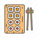 chopsticks, dish, food, japanese, rolls, seafood, sushi icon