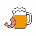 ale, bar, beer, drink, mug, seafood, shrimp icon