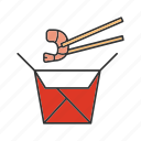 chinese, chopsticks, food, paper box, seafood, shrimp, wok icon