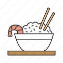 bowl, chinese, chopsticks, food, rice, seafood, shrimp icon