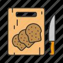 bakery, bread, cutting board, knife, slice, sliced bread, wheat icon