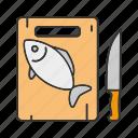 cooking, cutting board, fish, fresh, knife, salmon, seafood