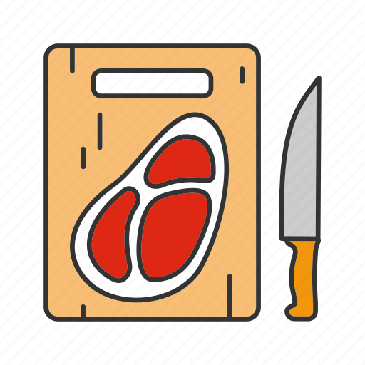 beefsteak, cooking, cut, cutting board, knife, meat, steak icon
