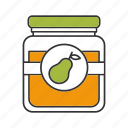 fruit, jam, jar, jelly, marmalade, pear, pear jam icon