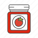 canned tomatos, glass jar, jar, ketchup, sauce, tomato, vegetable
