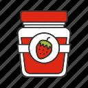 berry, fruit, glass jar, jam, jelly, marmelade, strawberry