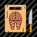 cooking, cutting board, fish, fish steak, knife, salmon, seafood