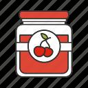 berry, cherry, food, glass jar, jam, jelly, marmalade