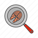 cooking, fish, fish steak, frying, frypan, salmon, seafood icon