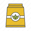 bag, green, leaves, packaging, paper package, tea, tea leaves icon