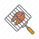 barbecue, bbq, cooking, fish, fish steak, grilling, hand grid icon