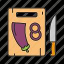 aubergine, cut, cutting board, eggplant, knife, sliced, vegetable icon