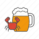 ale, bar, beer, crab, drink, mug, seafood icon