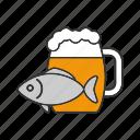 ale, bar, beer, drink, food, mug, salty fish