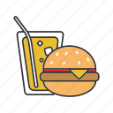 burger, cheeseburger, cola, fast food, hamburger, sandwich, soda