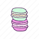 dessert, food, hand drawn, macaroon icon