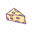 cheese, food, hand drawn, piece icon