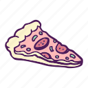 food, hand drawn, pizza, slice icon