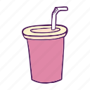 cup, drinks, fast food, hand drawn icon