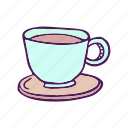 coffee, cup, drinks, food, hand drawn icon