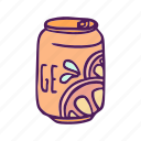 can, drinks, food, hand drawn, orange icon