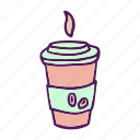 coffee, cup, drinks, food, hand drawn, hot icon