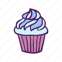 cream, cupcake, dessert, food, hand drawn icon