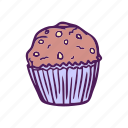 cake, dessert, food, hand drawn, muffin icon