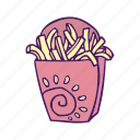 fast food, food, fries, hand drawn icon