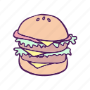 fast food, food, hamburger, hand drawn icon