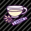 drink, flower, food, hand drawn, sugar, tea icon