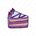 cake, dessert, fast food, food, hand drawn, snacks icon