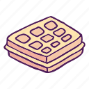 cake, dessert, fast food, food, hand drawn, pastry, waffle icon