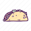 food, hand drawn, mexican, tortilla, wrap icon