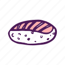 food, hand drawn, rice, salmon, sushi icon