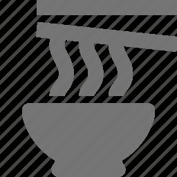 bowl, chopsticks, food, noodle icon