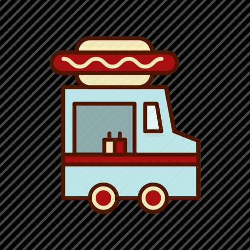 Business Food Hamburger Hot Dog Restaurant Retro Truck Icon