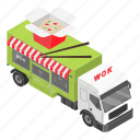 cart, cartoon, food, isometric, shop, truck, wok icon