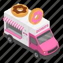 cartoon, donut, donuts, food, isometric, truck, van icon