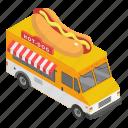 cartoon, chp6, dog, food, hot, isometric, truck icon